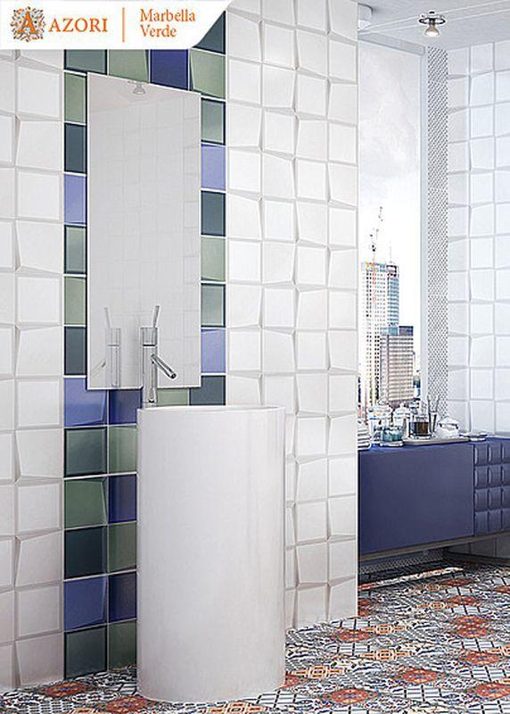 Плитка для ванной Керамическая плитка Marbella / Марбелла АЗОРИ: цвет - белый; размер плитки -  - Купить в интернет-магазине Мир Керамики
