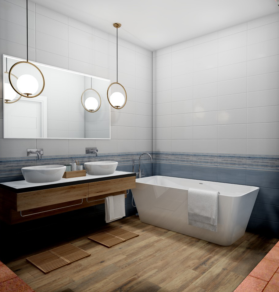 Плитка для ванной Керамическая плитка Блум БЕЛЛЕЗА / BELLEZA: цвет - белый; размер плитки - 20x40 - Купить в интернет-магазине Мир Керамики