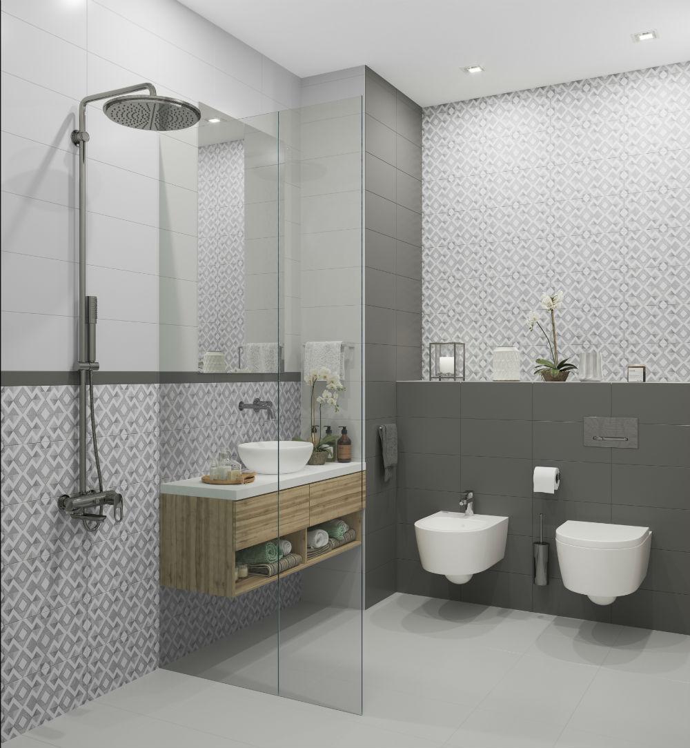 Плитка для ванной Керамическая плитка Дижон БЕЛЛЕЗА / BELLEZA: цвет - белый; размер плитки - 20x40 - Купить в интернет-магазине Мир Керамики