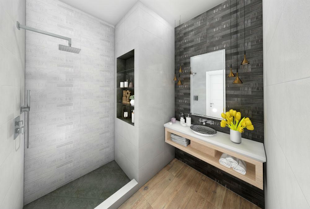 Плитка для ванной Керамическая плитка Синай БЕЛЛЕЗА / BELLEZA: цвет - серый; размер плитки - 30x60 - Купить в интернет-магазине Мир Керамики