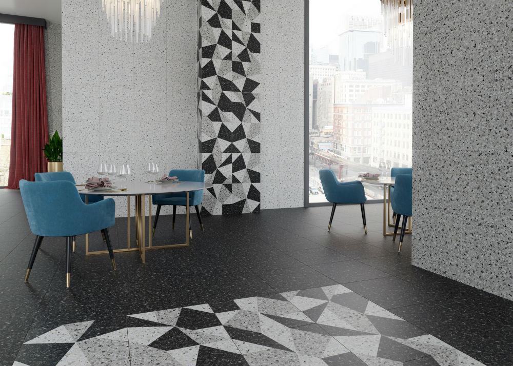 Плитка для ванной Керамогранит Терраццо Керамин: цвет - серый; размер плитки - 50x50 - Купить в интернет-магазине Мир Керамики